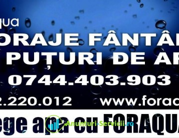 Firma Foraqua executa: puturi de apa, foraje fantani